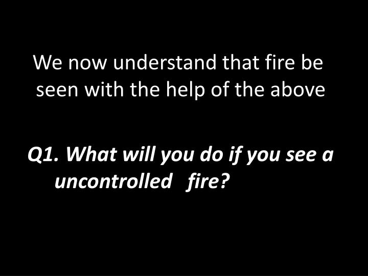 We now understand that fire be seen with the help of the above