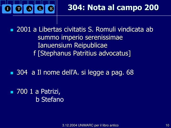 304: Nota al campo 200
