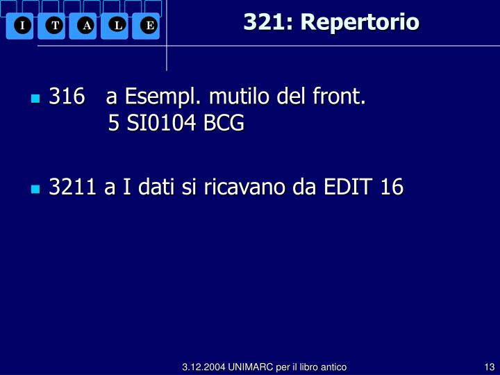 321: Repertorio