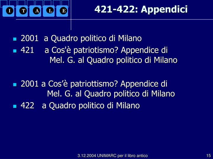 421-422: Appendici