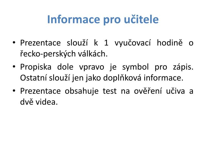 Informace pro učitele