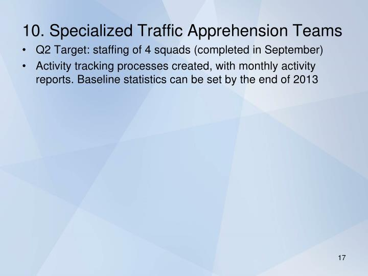 10. Specialized Traffic Apprehension Teams