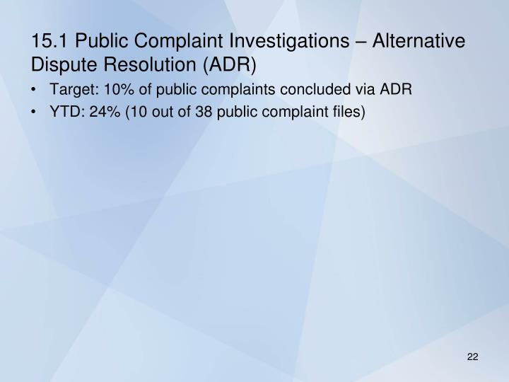15.1 Public Complaint Investigations – Alternative Dispute Resolution (ADR)
