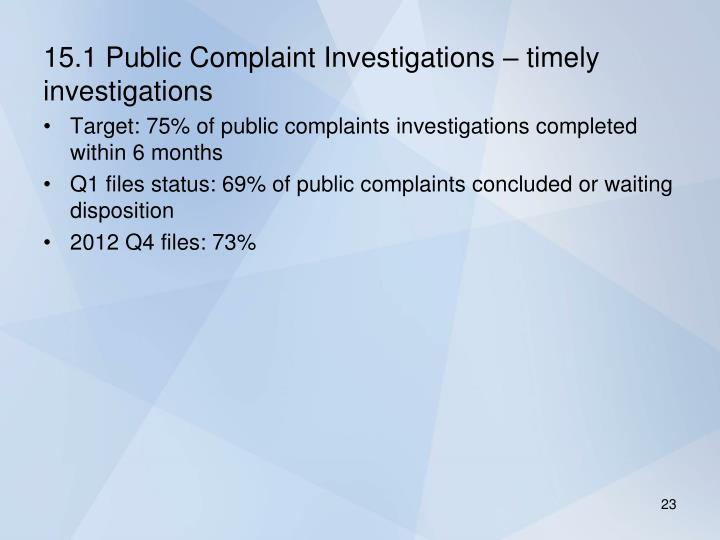15.1 Public Complaint Investigations – timely investigations