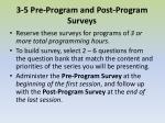 3 5 pre program and post program surveys