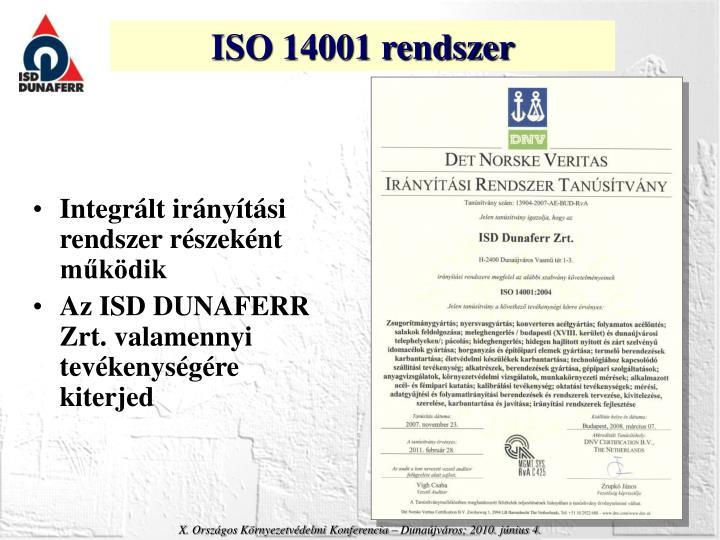 ISO 14001 rendszer
