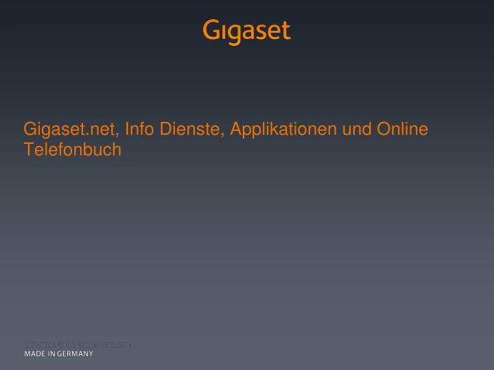 Gigaset.net, Info Dienste, Applikationen und Online Telefonbuch