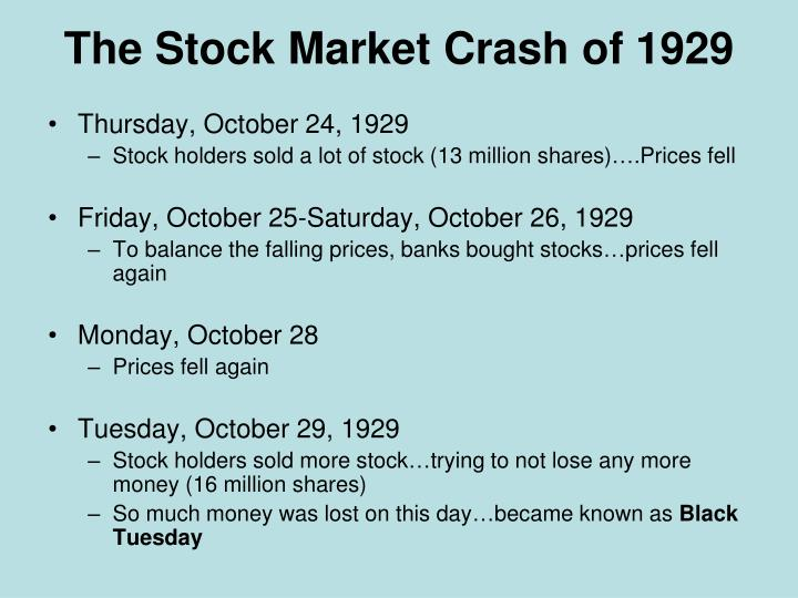 stock market crash of 1929 The 1929 stock market crash took a month to develop in 1907 it took a year but  the market today can tank in a few seconds.