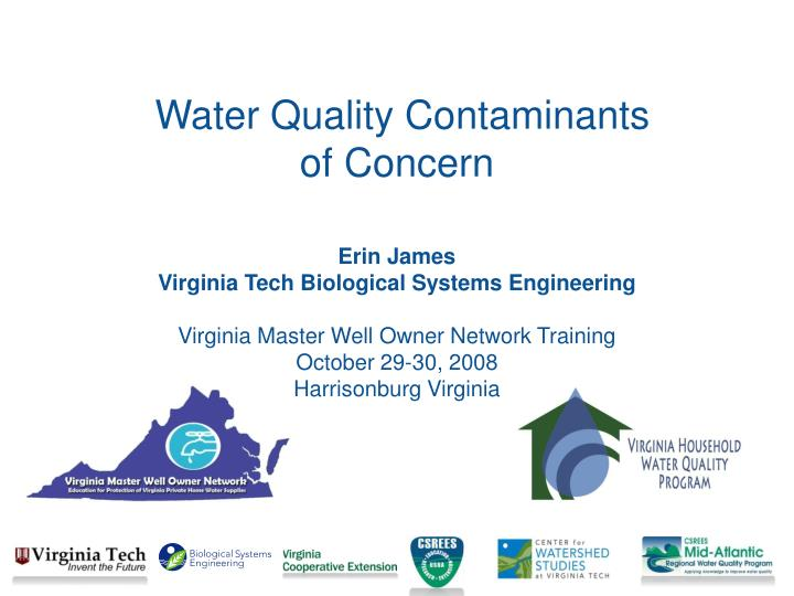 water quality contaminants of concern n.