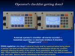 operator s checklist getting done