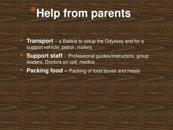 Help from parents