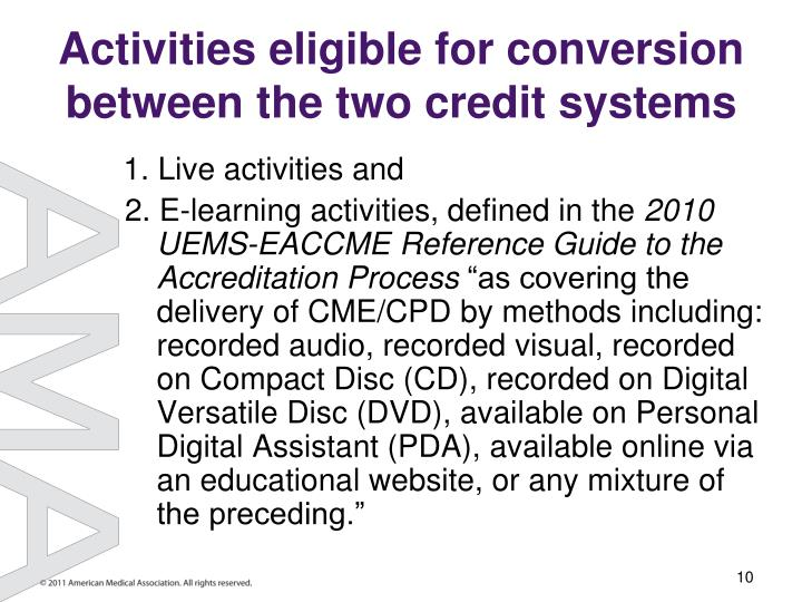 Activities eligible for conversion between the two credit systems