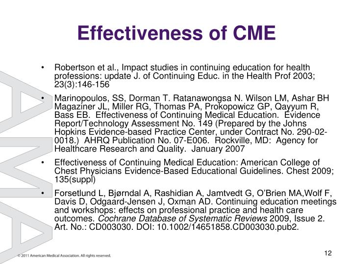 Effectiveness of CME