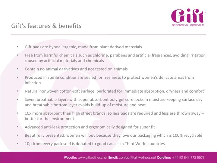 Gift's features & benefits