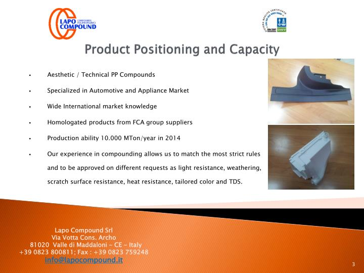 Product positioning and capacity