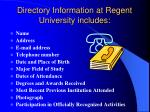 directory information at regent university includes