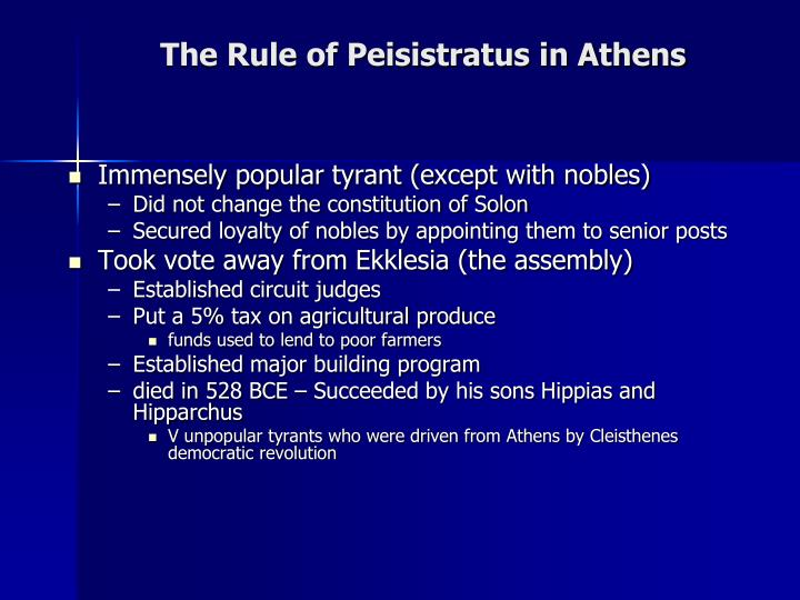 The rule of peisistratus in athens