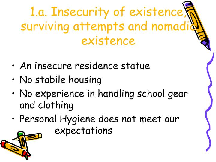 1.a. Insecurity of existence, surviving attempts and nomadic existence