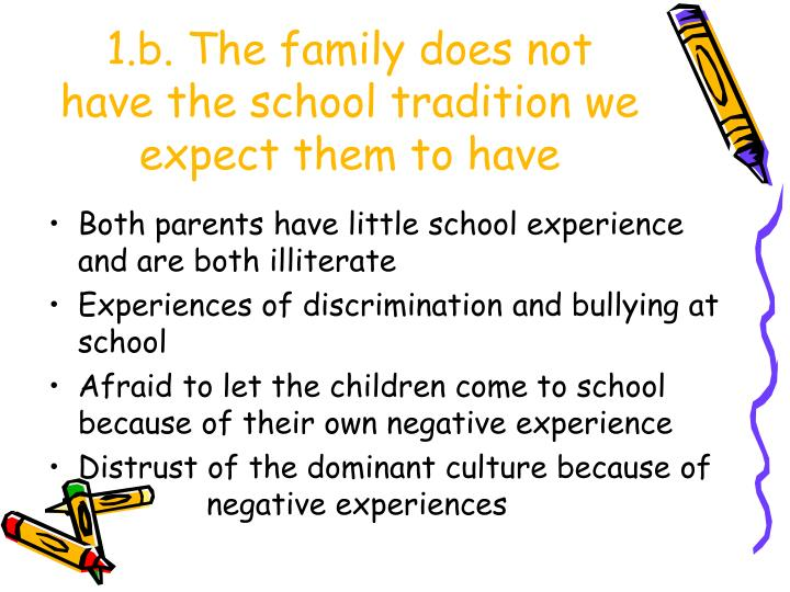 1.b. The family does not have the school tradition we expect them to have