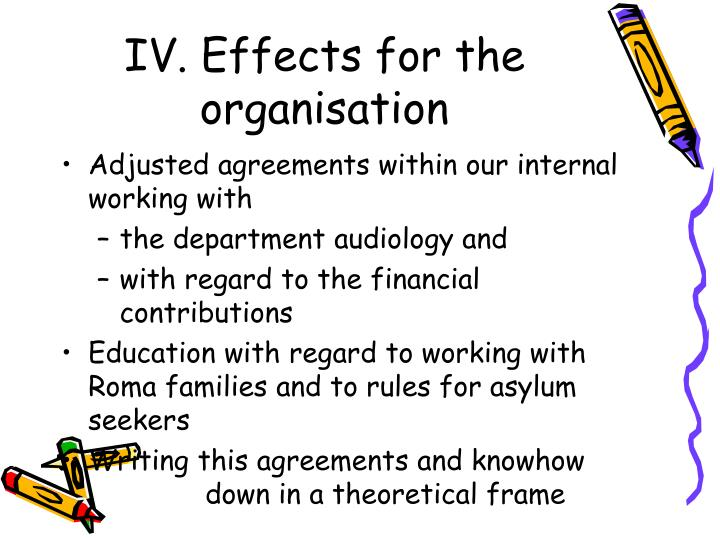 IV. Effects for the organisation