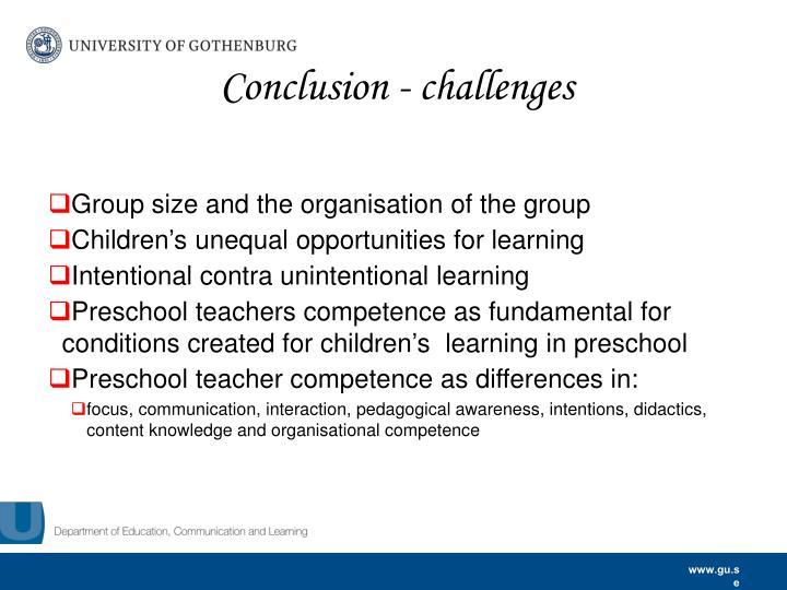 Conclusion - challenges