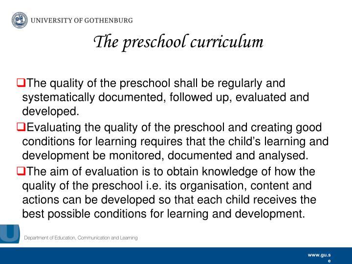 The preschool curriculum