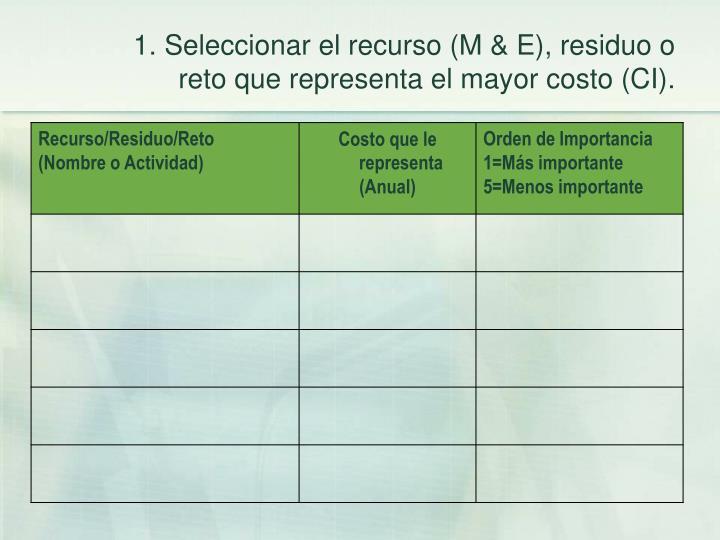 1. Seleccionar el recurso (M & E), residuo o