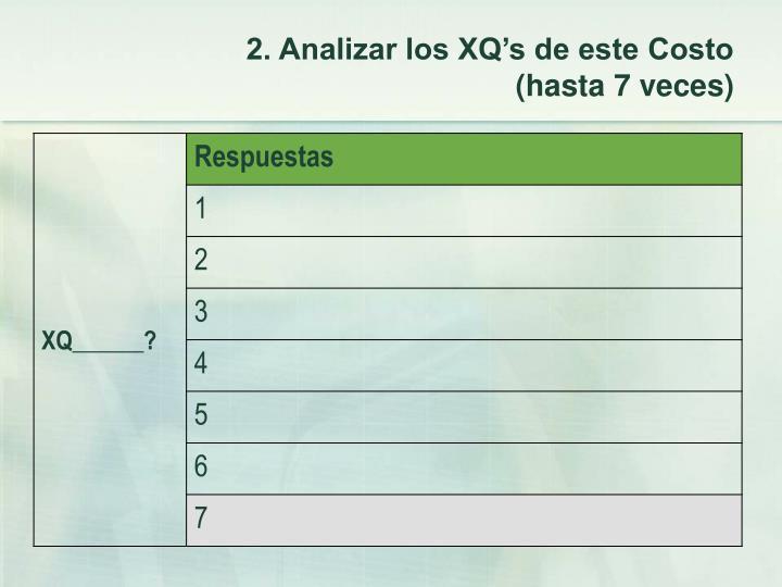 2. Analizar los XQ's de este Costo (hasta 7 veces)