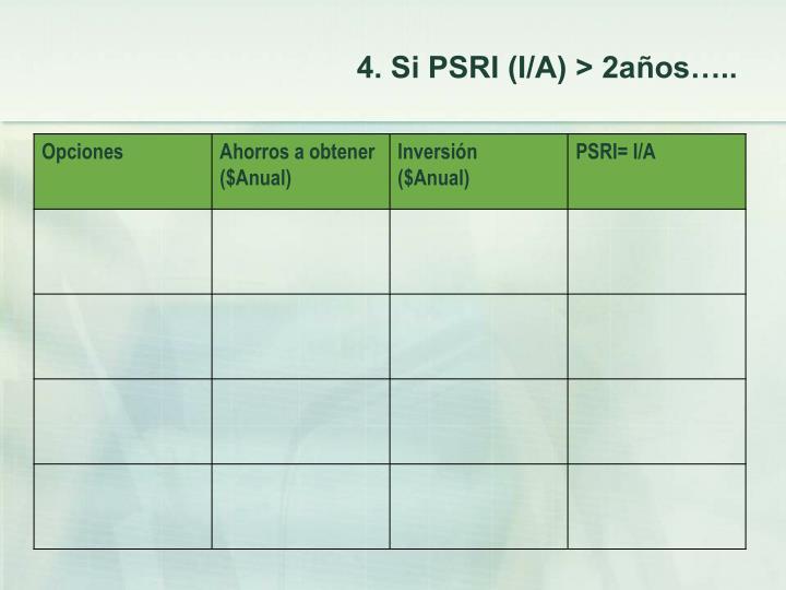4. Si PSRI (I/A) > 2años…..