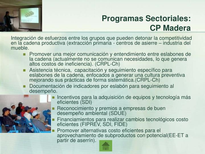 Programas Sectoriales: