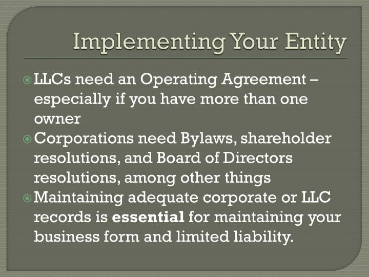 Implementing Your Entity
