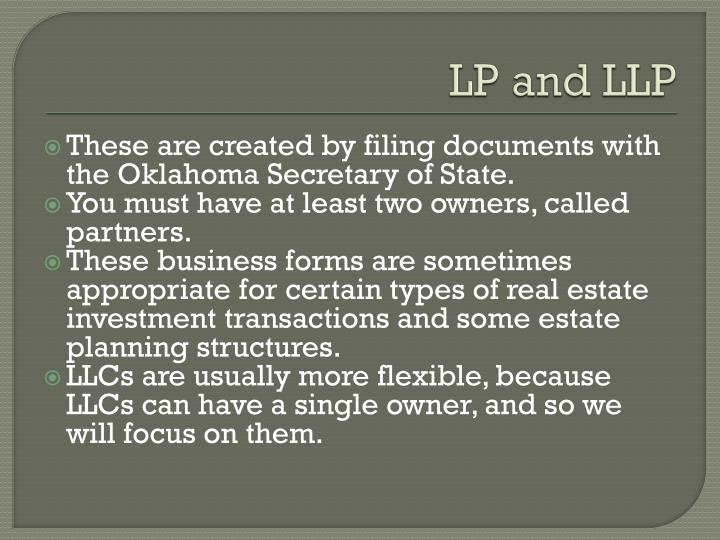 LP and LLP