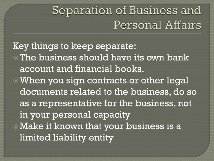 Separation of Business and Personal Affairs