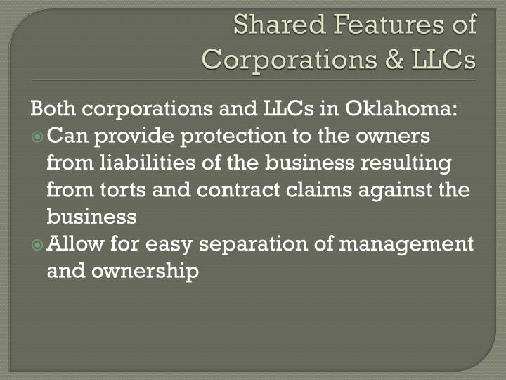 Shared Features of