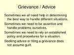 grievance advice
