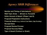 agency sbir differences