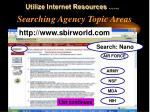 searching agency topic areas