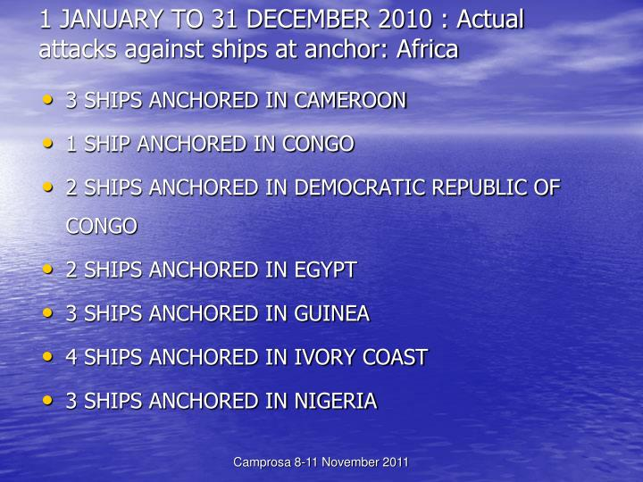 1 JANUARY TO 31 DECEMBER 2010 : Actual attacks against ships at anchor: Africa