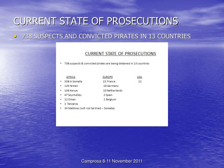 CURRENT STATE OF PROSECUTIONS