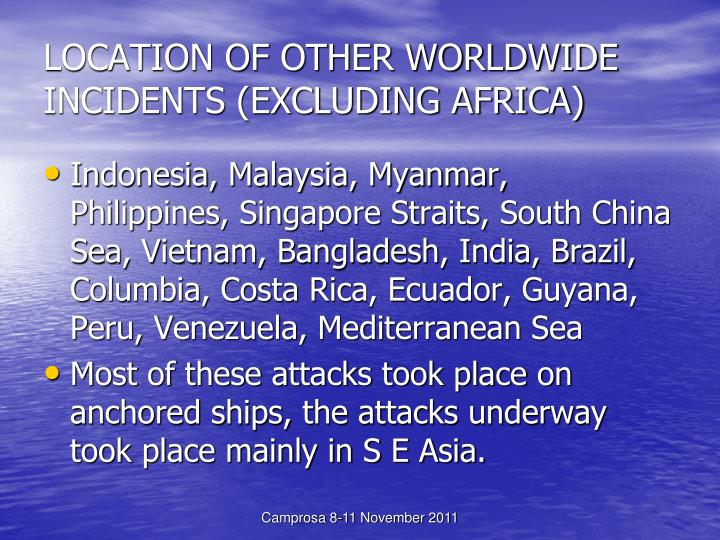 LOCATION OF OTHER WORLDWIDE INCIDENTS (EXCLUDING AFRICA)