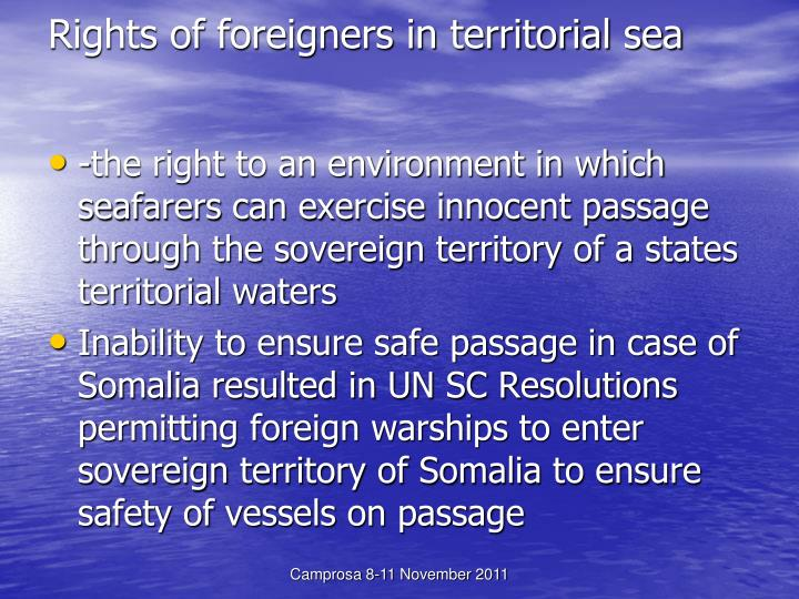 Rights of foreigners in territorial sea