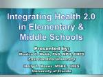 integrating health 2 0 in elementary middle schools