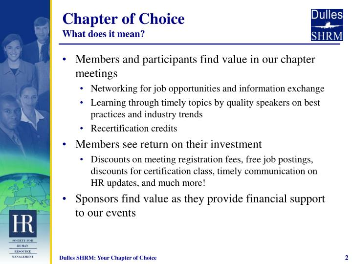 Chapter of choice what does it mean