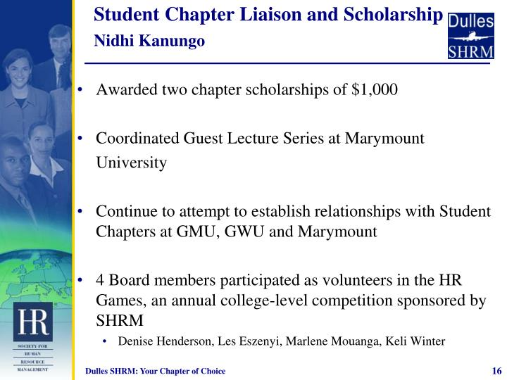 Student Chapter Liaison and Scholarship