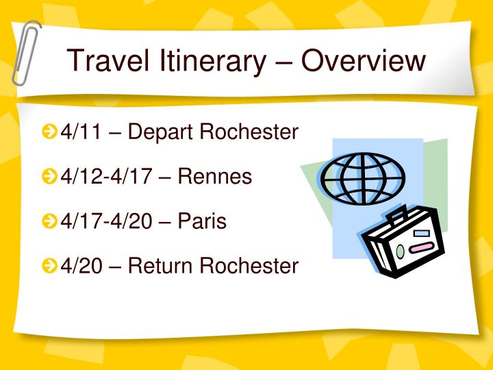 Travel Itinerary – Overview