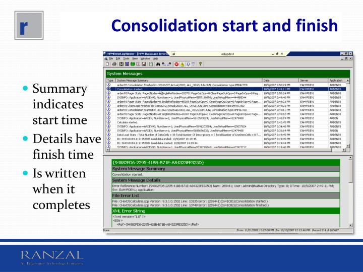 Consolidation start and finish