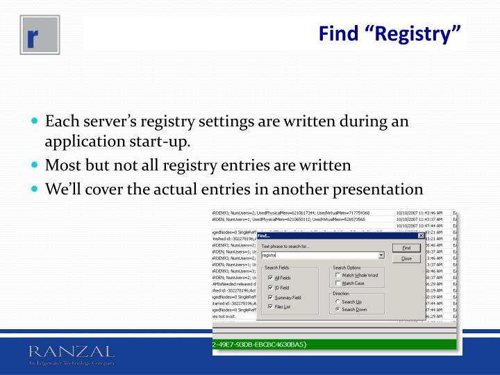 "Find ""Registry"""