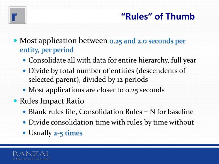 """""""Rules"""" of Thumb"""