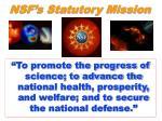 nsf s statutory mission