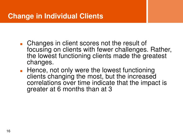 Change in Individual Clients